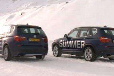 sommerdaek mod vinterdaek ved sne det er bmw som tester