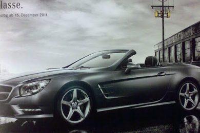 Billede fra brochure af den nye Mercedes SL