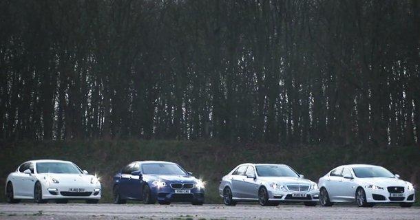 BMW M5 vs Porsche Panamera S vs Mercedes E63 AMG vs Jaguar XFR – Video