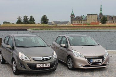 Opel Corsa bliver sat mod Peugeot 208 i en duel