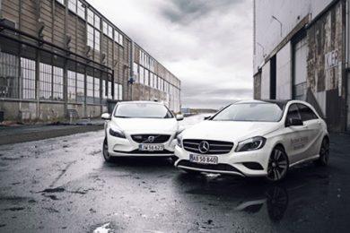 Mercedes A-klasse og Volvo V40 duel