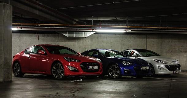 Trippeltest: Hyundai Genesis Coupé, Peugeot RCZ og Subaru BRZ