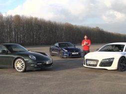 Nissan GT-R mod Audi R8 V10 Plus og Porsche 911 Turbo S