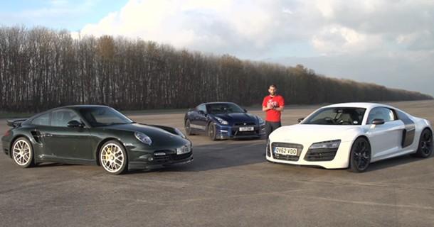 Audi R8 V10 Plus, Porsche 911 Turbo S eller tunet Nissan GT-R?