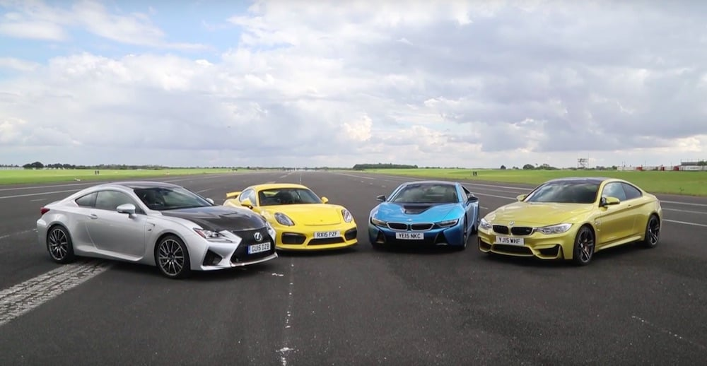 BMW M4 vs Porsche Cayman GT4 vs Lexus RC-F vs BMW i8