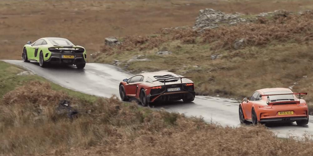 Top Gear tester Porsche, Lamborghini og McLaren – i regnvejr